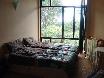 Zweibettzimmer mit Blick in den Garten.